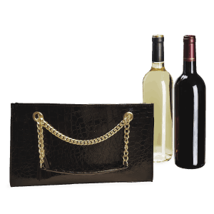 Black Croc Gold Chain Insulated Wine Carrying Bag